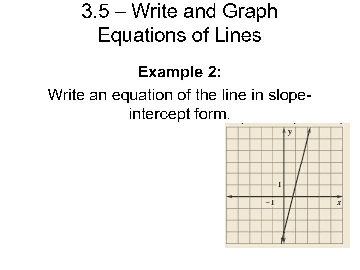 3. 5 – Write and Graph Equations of Lines Example 2: Write an equation