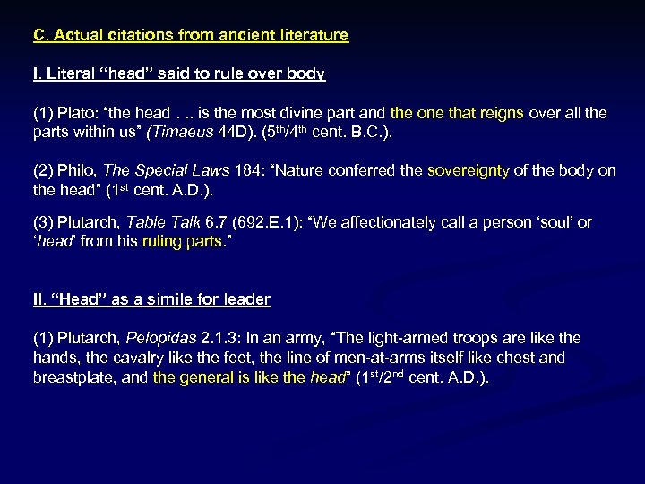 """C. Actual citations from ancient literature I. Literal """"head"""" said to rule over body"""