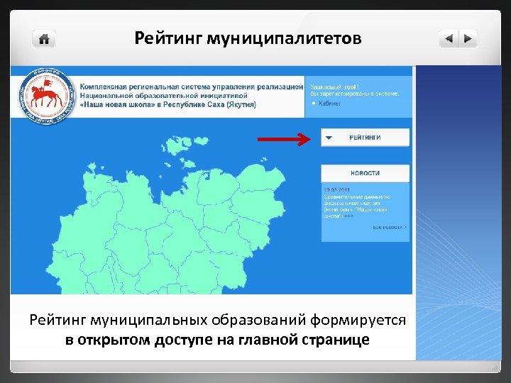 Рейтинг муниципалитетов Рейтинг муниципальных образований формируется в открытом доступе на главной странице
