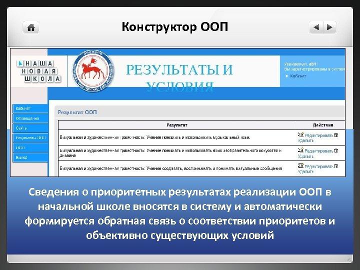 Конструктор ООП Сведения о приоритетных результатах реализации ООП в начальной школе вносятся в систему