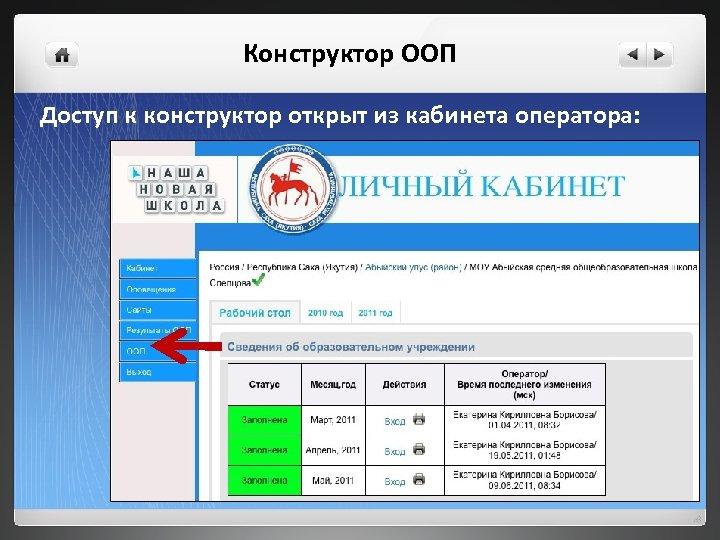 Конструктор ООП Доступ к конструктор открыт из кабинета оператора: