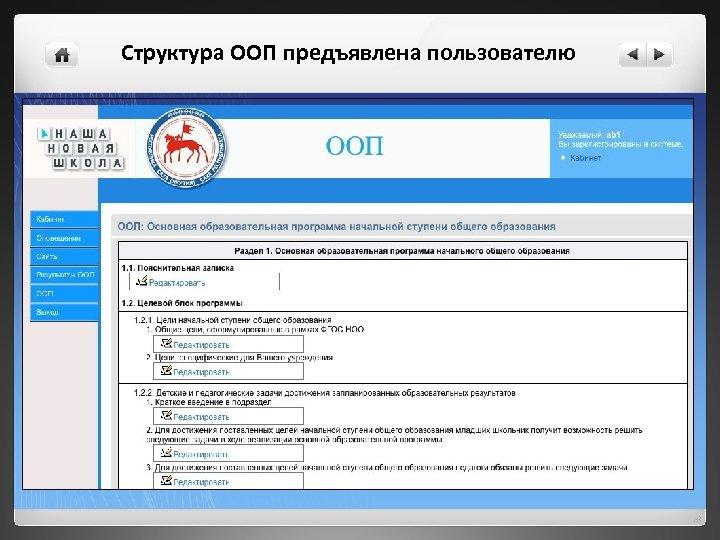 Структура ООП предъявлена пользователю
