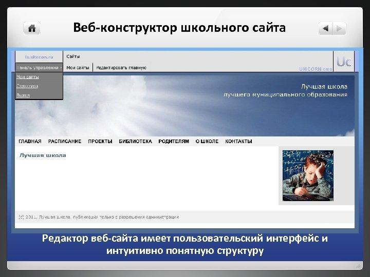Веб-конструктор школьного сайта Редактор веб-сайта имеет пользовательский интерфейс и интуитивно понятную структуру