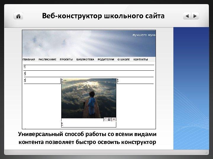 Веб-конструктор школьного сайта Универсальный способ работы со всеми видами контента позволяет быстро освоить конструктор