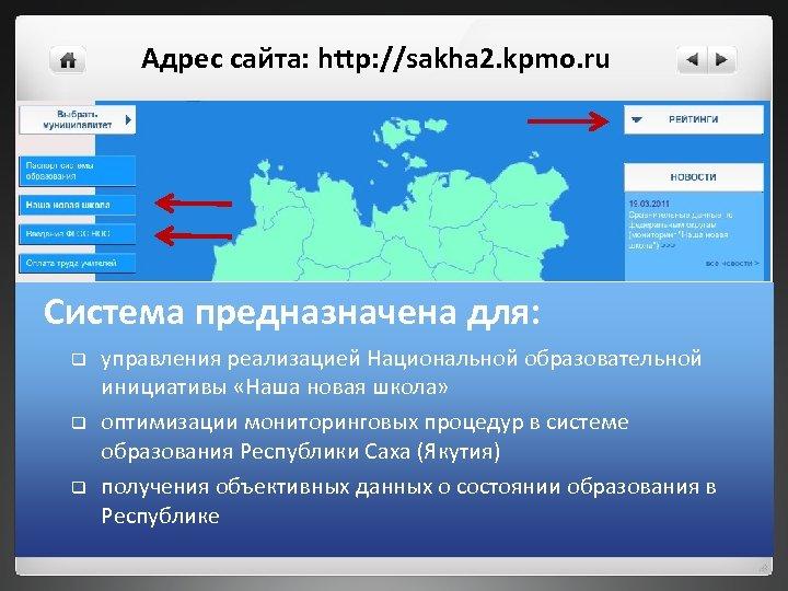 Адрес сайта: http: //sakha 2. kpmo. ru Система предназначена для: q q q управления