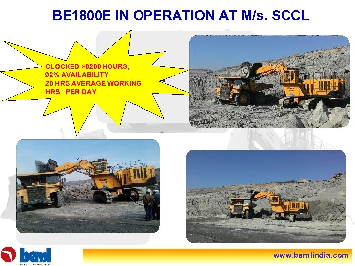 BE 1800 E IN OPERATION AT M/s. SCCL CLOCKED >8200 HOURS, 92% AVAILABILITY 20