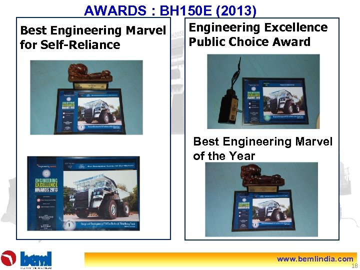 AWARDS : BH 150 E (2013) Best Engineering Marvel for Self-Reliance Engineering Excellence Public