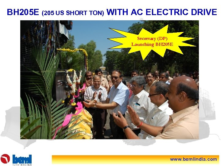 BH 205 E (205 US SHORT TON) WITH AC ELECTRIC DRIVE Secretary (DP) Launching