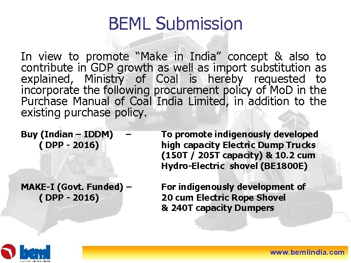 """BEML Submission In view to promote """"Make in India"""" concept & also to contribute"""