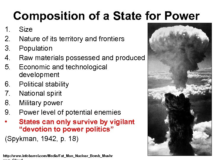 Composition of a State for Power 1. 2. 3. 4. 5. Size Nature of