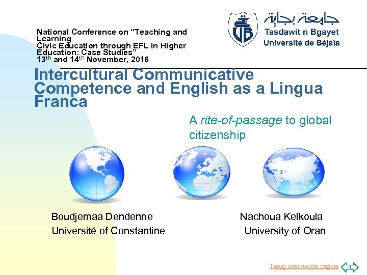 """National Conference on """"Teaching and Learning Civic Education through EFL in Higher Education: Case"""