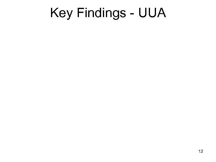 Key Findings - UUA 12