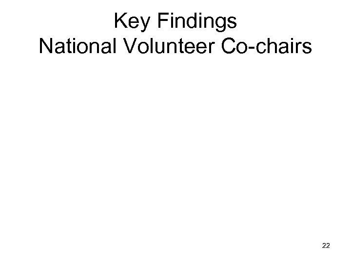 Key Findings National Volunteer Co-chairs 22