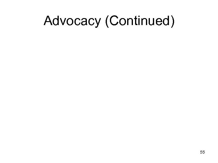 Advocacy (Continued) 55