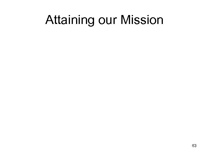 Attaining our Mission 63