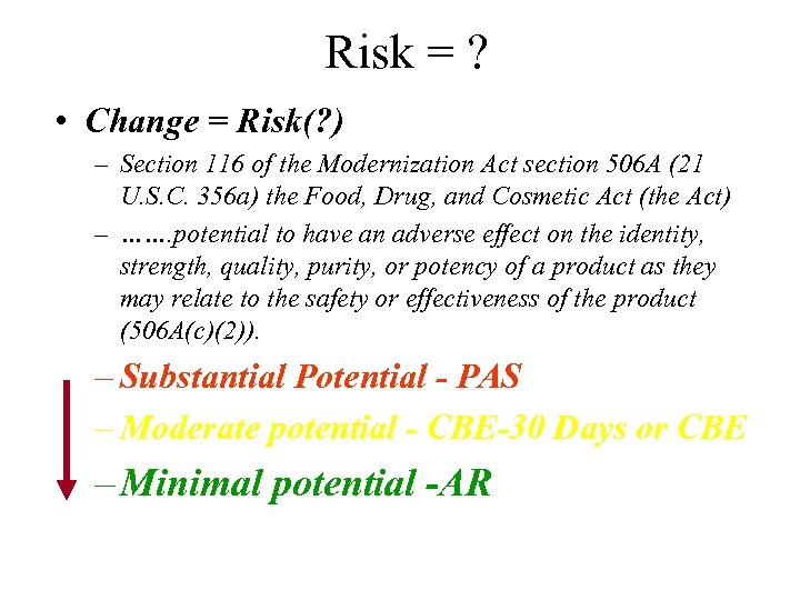 Risk = ? • Change = Risk(? ) – Section 116 of the Modernization