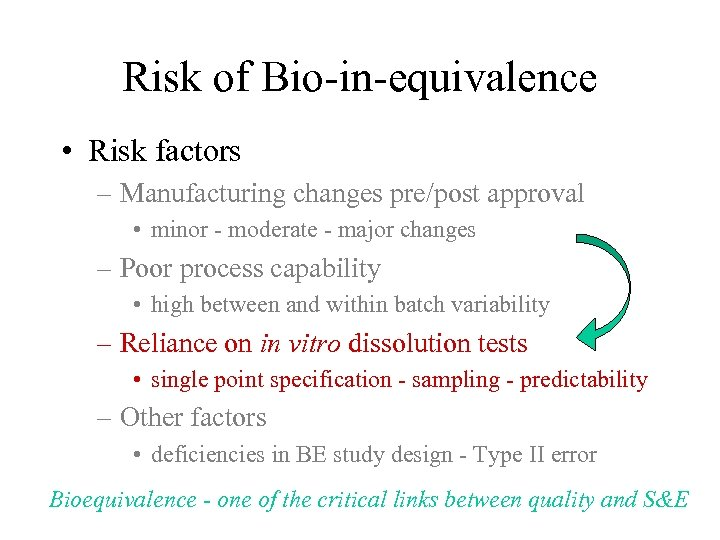 Risk of Bio-in-equivalence • Risk factors – Manufacturing changes pre/post approval • minor -