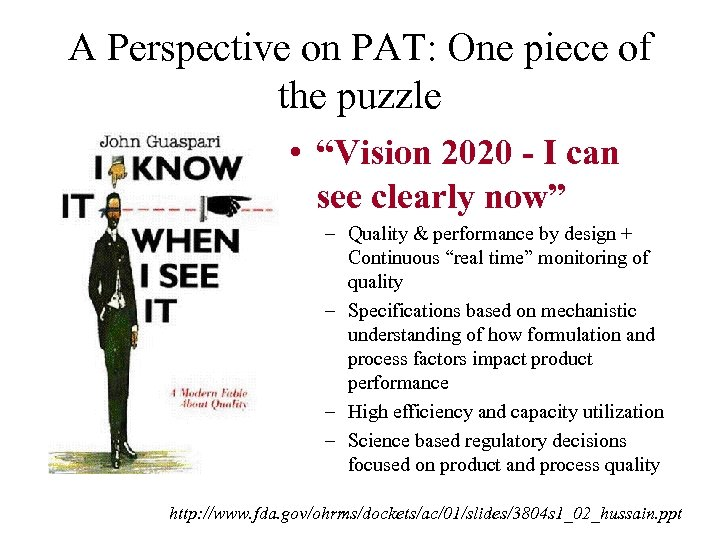 """A Perspective on PAT: One piece of the puzzle • """"Vision 2020 - I"""
