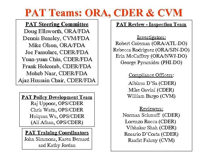 PAT Teams: ORA, CDER & CVM PAT Steering Committee Doug Ellsworth, ORA/FDA Dennis Bensley,