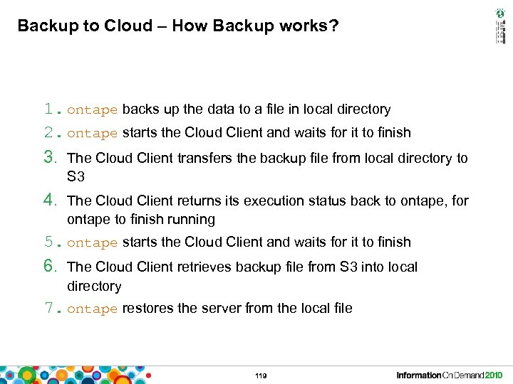 Backup to Cloud – How Backup works? 1. ontape backs up the data to