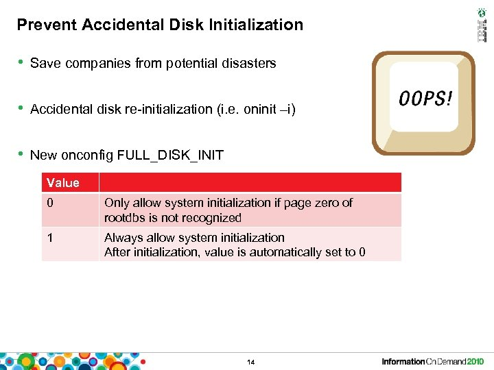 Prevent Accidental Disk Initialization • Save companies from potential disasters • Accidental disk re-initialization