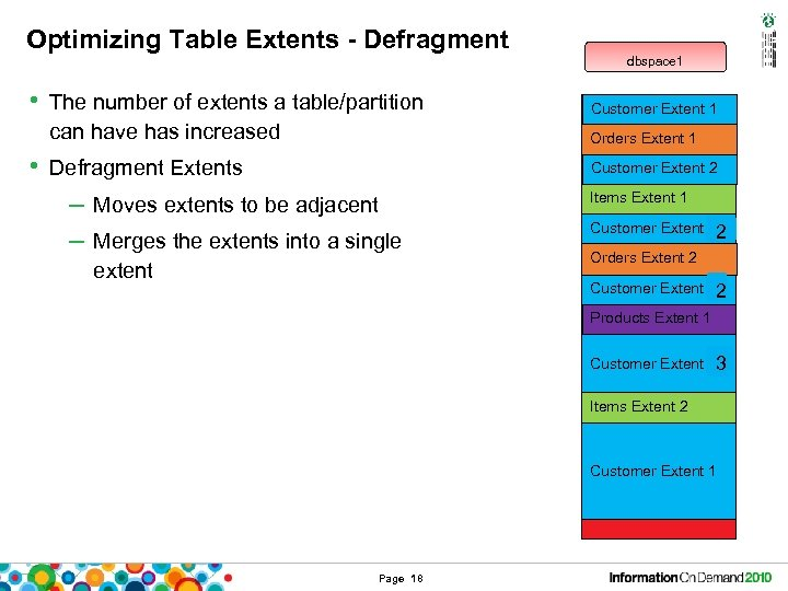 Optimizing Table Extents - Defragment • The number of extents a table/partition dbspace 1