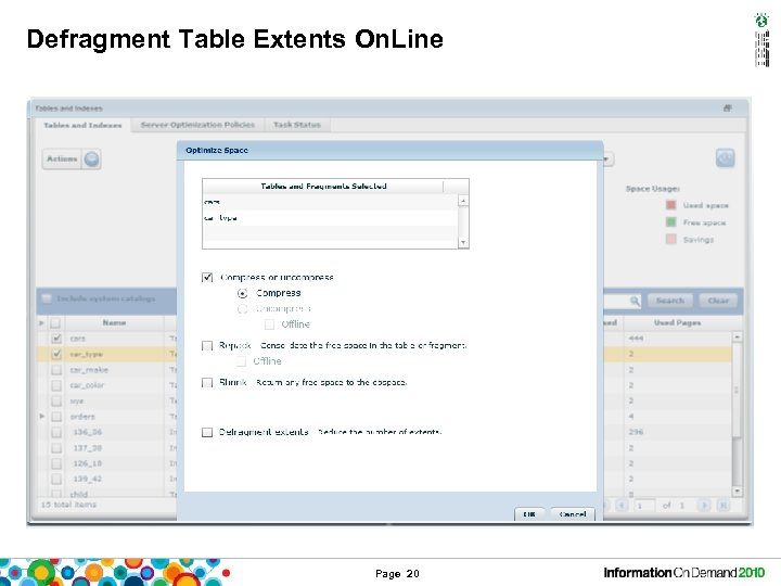 Defragment Table Extents On. Line Page 20