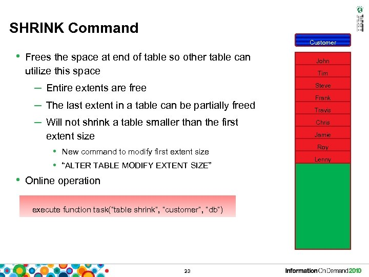 SHRINK Command Customer • Frees the space at end of table so other table