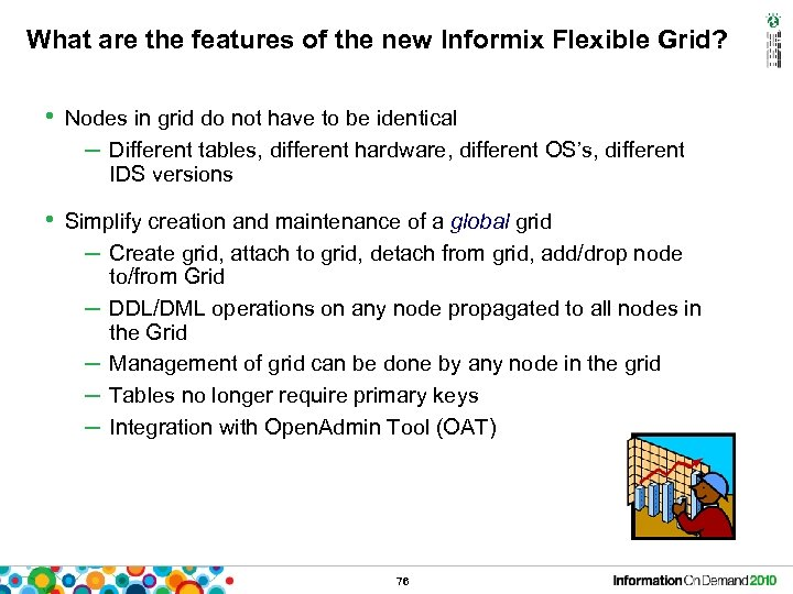 What are the features of the new Informix Flexible Grid? • Nodes in grid