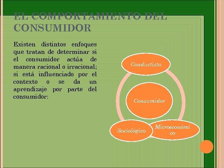 EL COMPORTAMIENTO DEL CONSUMIDOR Existen distintos enfoques que tratan de determinar si el consumidor