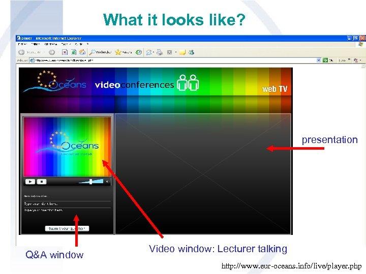 What it looks like? presentation Q&A window Video window: Lecturer talking http: //www. eur-oceans.