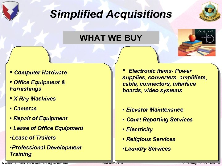 Simplified Acquisitions WHAT WE BUY • Computer Hardware • Office Equipment & Furnishings •