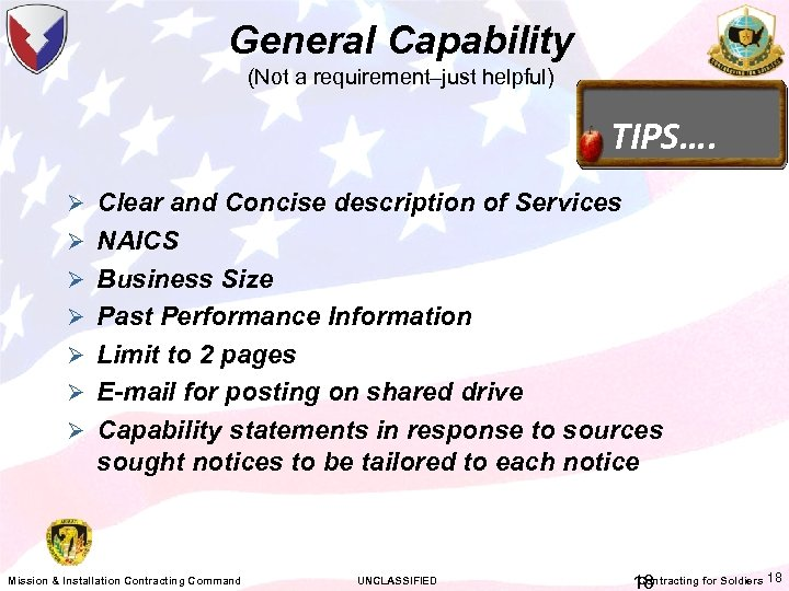 General Capability (Not a requirement–just helpful) TIPS…. Ø Clear and Concise description of Services