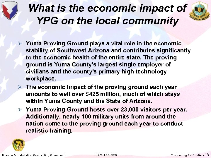 What is the economic impact of YPG on the local community Ø Yuma Proving