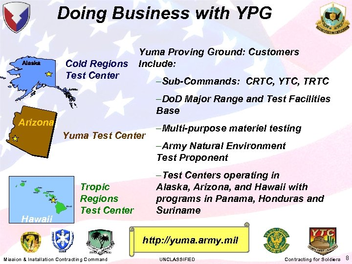 Doing Business with YPG Cold Regions Test Center Yuma Proving Ground: Customers Include: –Sub-Commands: