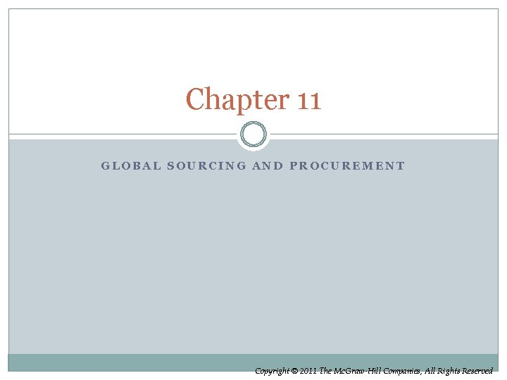 Chapter 11 GLOBAL SOURCING AND PROCUREMENT Copyright © 2011 The Mc. Graw-Hill Companies, All
