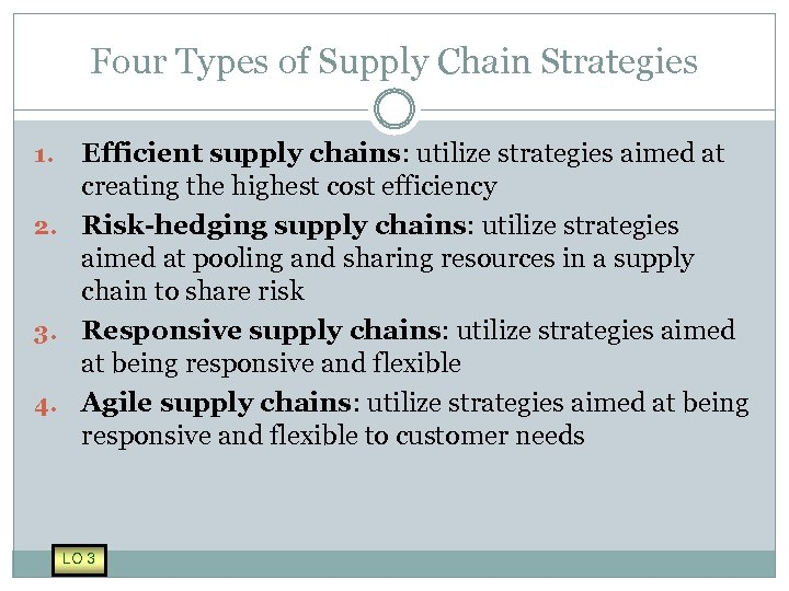 Four Types of Supply Chain Strategies Efficient supply chains: utilize strategies aimed at creating