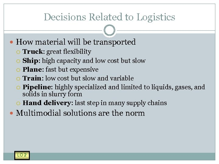 Decisions Related to Logistics How material will be transported Truck: great flexibility Ship: high