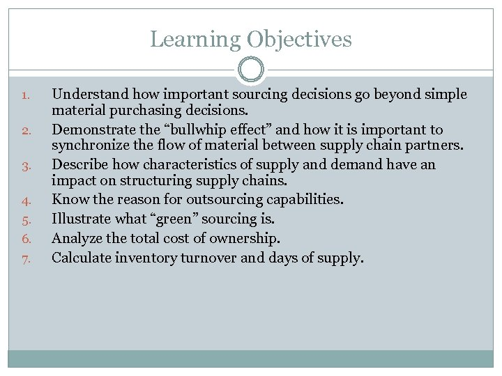 Learning Objectives 1. 2. 3. 4. 5. 6. 7. Understand how important sourcing decisions