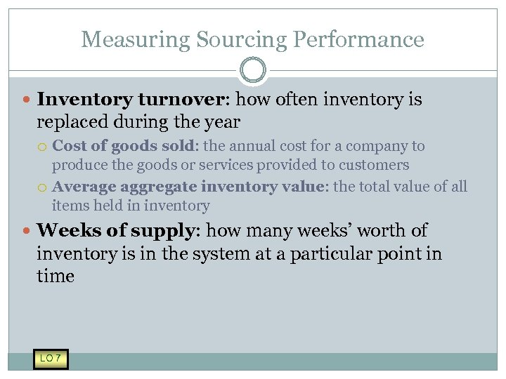 Measuring Sourcing Performance Inventory turnover: how often inventory is replaced during the year Cost