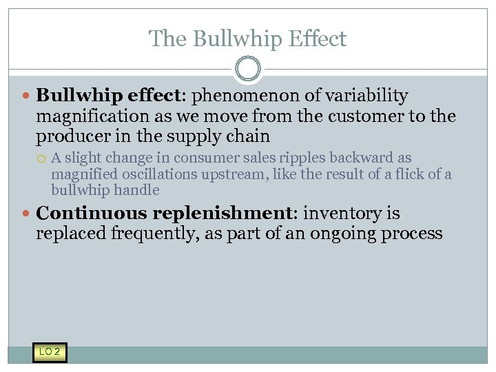 The Bullwhip Effect Bullwhip effect: phenomenon of variability magnification as we move from the