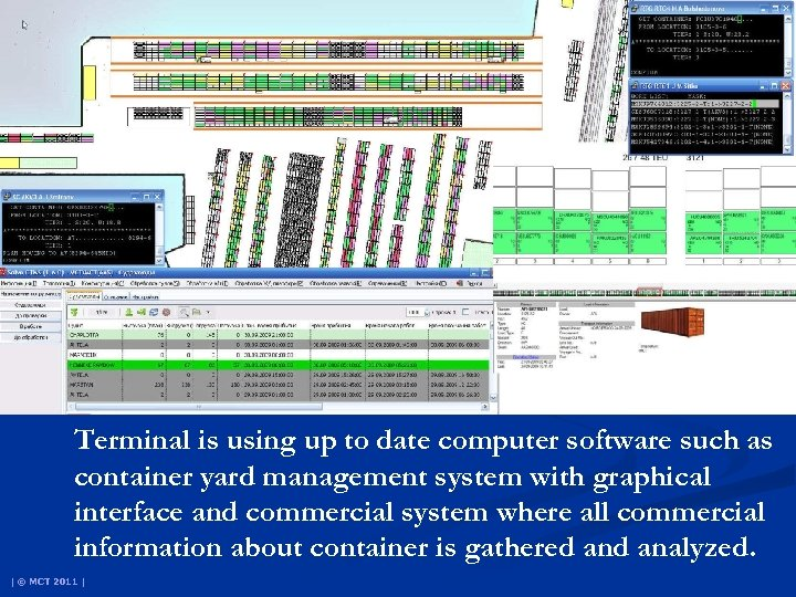 Terminal is using up to date computer software such as container yard management system