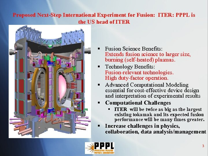 Proposed Next-Step International Experiment for Fusion: ITER: PPPL is the US head of ITER