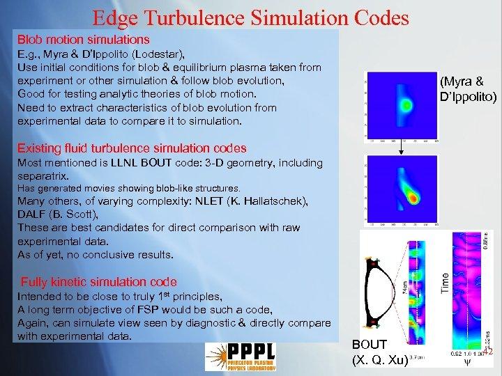 Edge Turbulence Simulation Codes Blob motion simulations E. g. , Myra & D'Ippolito (Lodestar),