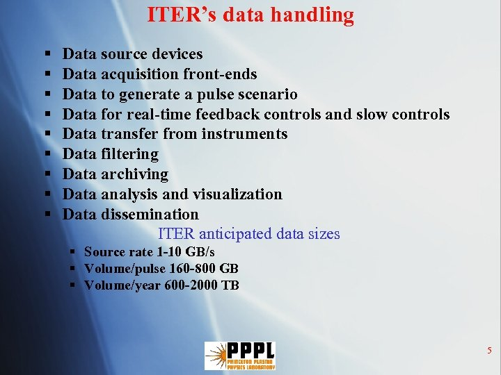ITER's data handling § § § § § Data source devices Data acquisition front-ends