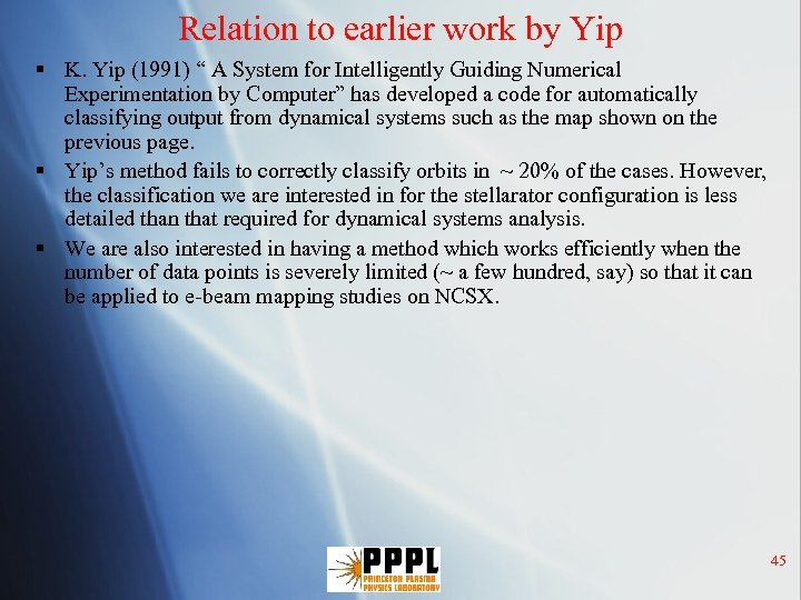 """Relation to earlier work by Yip § K. Yip (1991) """" A System for"""