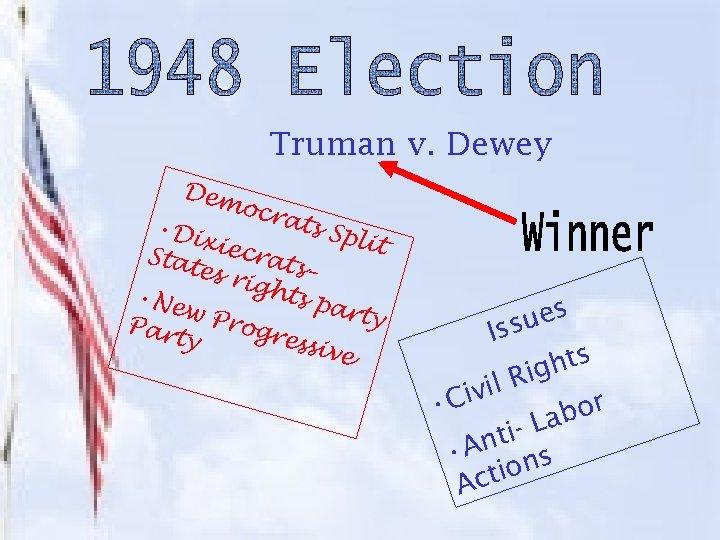 Truman v. Dewey Dem ocra ts Sp • Di lit xiec Stat rats es