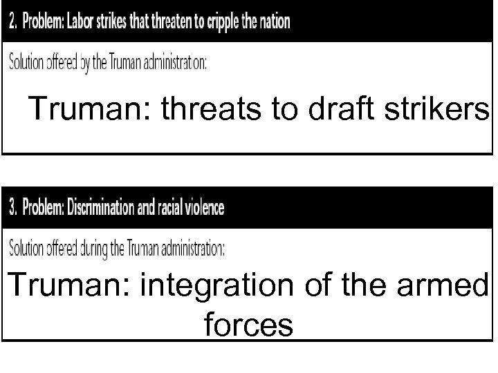 Truman: threats to draft strikers Truman: integration of the armed forces