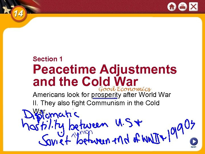 Section 1 Peacetime Adjustments and the Cold War Good Economics Americans look for prosperity