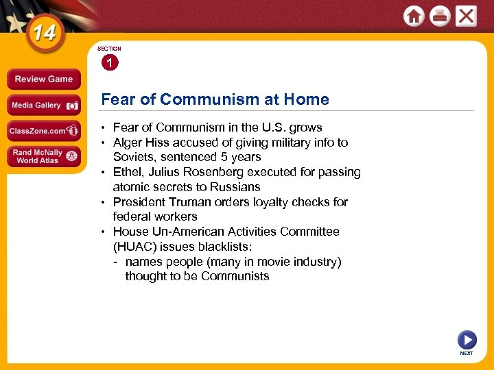 SECTION 1 Fear of Communism at Home • Fear of Communism in the U.